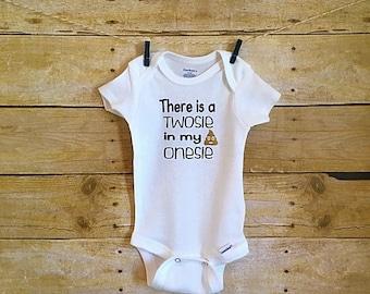 There's a Twosie In my Onesie Baby Onesie // Funny Baby Onesie // Baby Onesie // Funny Baby shirt // Funny Baby Onesie