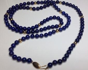 "Estate Ladies 14K Yellow Gold Lapis Lazuli Gemstone Beaded 30"" Necklace 38 Grams"
