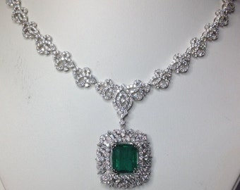 Colombian Natural Emerald GIA Certified 24.22 TCW Diamond Designer Necklace!!!
