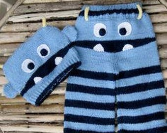 COOKIE MONSTER inspired set baby COOKIE monster hat pants cookie monster costume pants, cap gift baby photography Halloween costume for kids