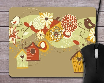 Mouse Pad - Bird Houses and Birds Mouse Pad - Earthy Colors