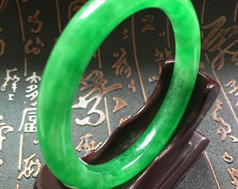 Certified 57MM Round Emerald Green Jadeite Jade Bangle Bracelet A664