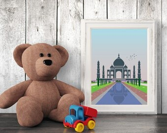 Architecture Nursery Print, India, Wall Art, Kids Art, Nursery Decor, Printables