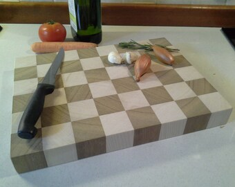 Checkered wood chopping board