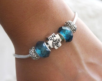 RN Bracelet, Personalized RN Bracelet,RN Gifts, Birthstone Bracelet, European Style, Registered Nurse Gifts, Registered Nurse Jewelry