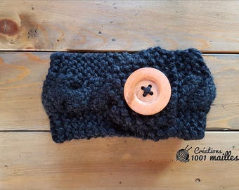 Head band whit button, spring and winter, black