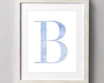 Letter B | Nursery Print | Nursery Art | Alphabet | Instant Download | Digital Print | Wall Art | Baby Boy | Initials | Blue | Watercolor