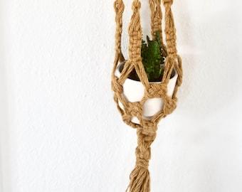 RESERVED FOR EMANUELA  // Vintage Macrame Jute Rope Hanging Planter, Garten Pflanze Hanger Macrame Jute