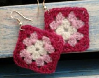 Granny Square Earrings - Pinks