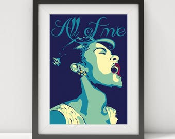 billie holiday, billie holiday print, billie holiday poster, mothers day gift, jazz poster, jazz art, jazz singer, music poster, prints