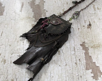 Midsummer's Eve leather neck pouch, beaded, rustic, organic, vintage