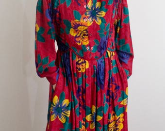 Geeky Vintage 90's floral dress with collar