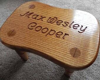 Handmade Personalised Children's Wooden Stool Christening 1st Birthday Gift