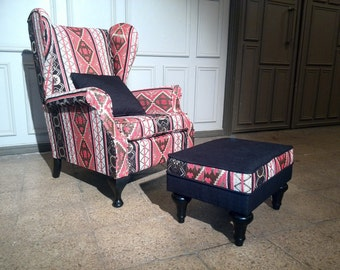 Restored English Wing back armchair with Ottoman