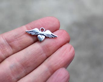One Angel Wing Charm, Heart Charm, winged heart, flying heart