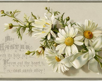 Antique Easter Victorian Trade Card White Daisies Plain Back