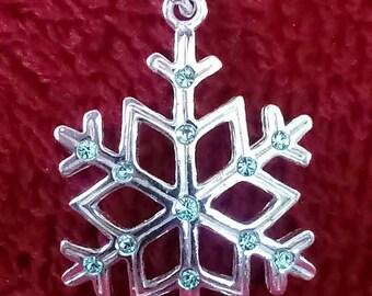 Sterling Silver Blue CZ Snowflake Pendant/Charm - Vintage
