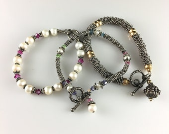 Beautiful Trio of Hand Made Bracelets with Pearls & Crystals