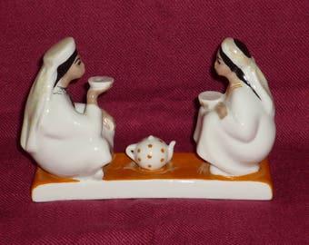 Soviet porcelain. The girls are drinking tea. Uzbeks, TEA. LZFI. 50s