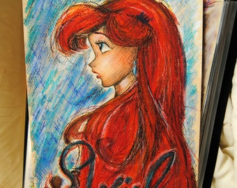 Colored Pencil Disney drawing of Princess Ariel