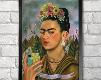 Frida Kahlo Poster Print A3+ 13 x 19 in - 33 x 48 cm Self-ie-Portrait, Classical Selfie Buy 2 get 1 FREE