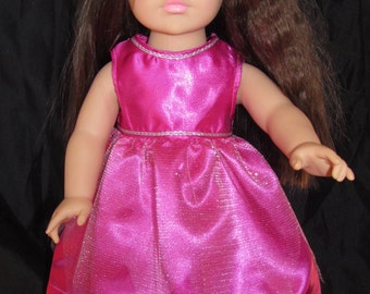 "handmade pink dress with sheer overlay 18"" doll clothes fits American Girl"