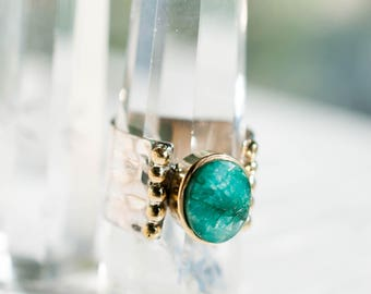 Emerald Ring ~ Sterling Silver 925 ~ Gold Vermeil ~ Handmade ~ Everyday ~ Statement  ~Gift for her ~Boho ~Hippie ~ Bohemian ~MR067