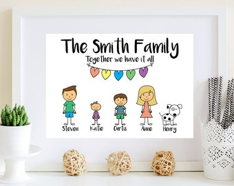 Personalised Stick Family, Personalised Family Print, Personalised Print, Housewarming Gift, Mothers Day Gift, Family portrait