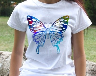Butterfly T-shirt - Cool Tee - Fashion women's apparel - Colorful printed tee - Gift Idea