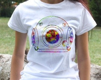 Space suit T-shirt - Cosmos Tee - Fashion women's apparel - Colorful printed tee - Gift Idea