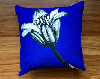 Bluebell at the Two Tunnels. cushion/ pillow, purple, monochromatic, hand drawn, bright botanical.