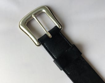 Handmade Leather Belt with Rope Edge Buckle