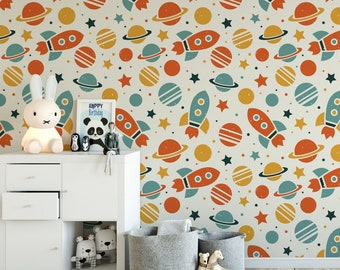 Outer space kids removable wallpaper / cute self adhesive wallpaper / children's rockets temporary wallpaper K133-27