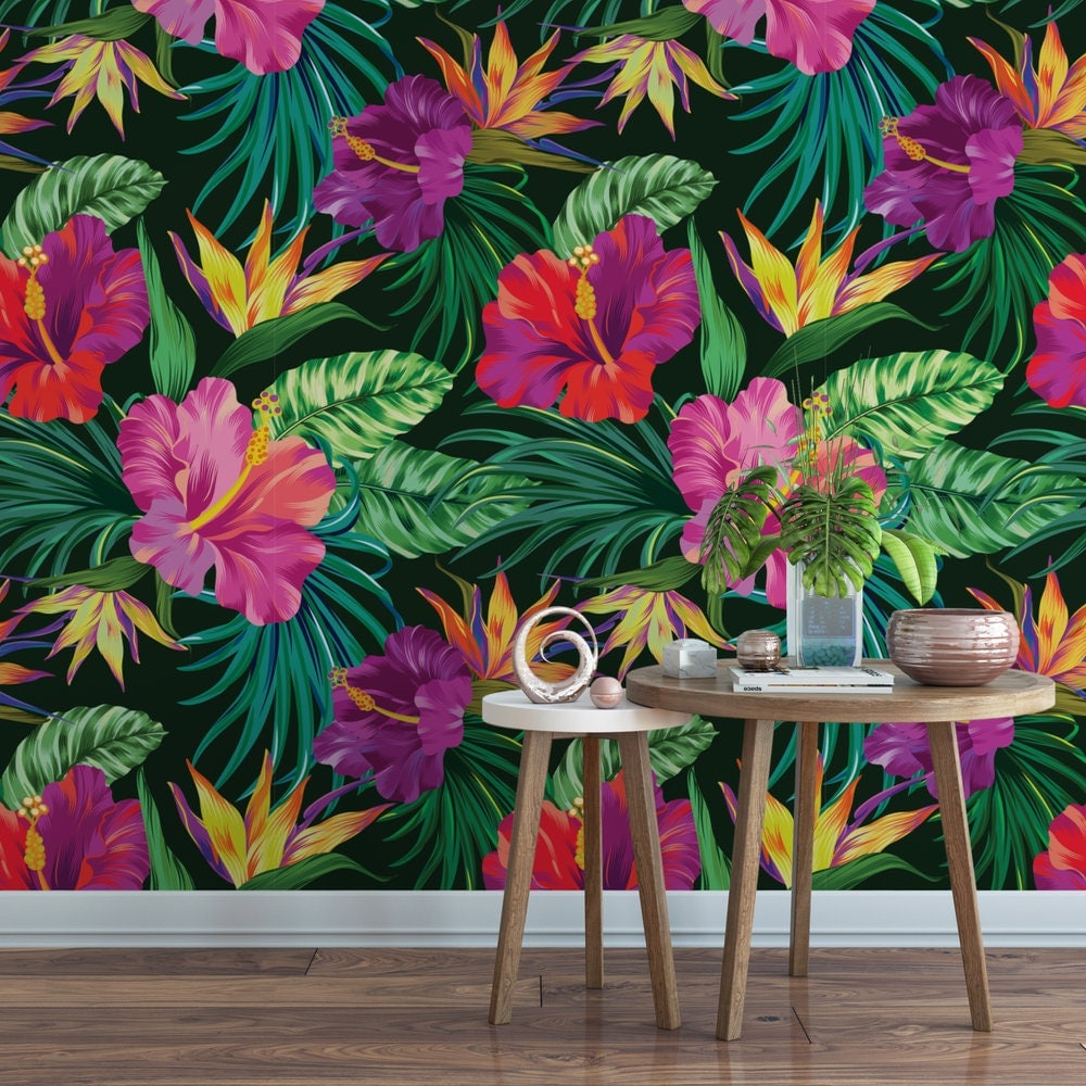 Tropical Hibiscus Removable Wallpaper / Cute Floral Bird Of