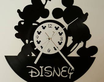 Vinyl Clock Minnie and Mickey, Christmas gift, Wall clock, vinyl record clock
