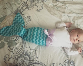 Handmade baby mermaid tail onesie