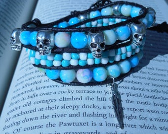 Skull and Feather Charm Three Wrap Bracelet