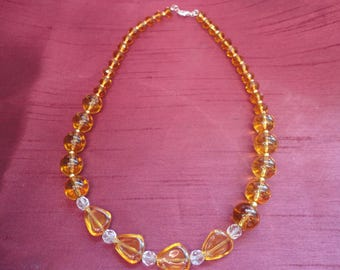 Golden Glow Acrylic Amber Beaded Necklace - N62
