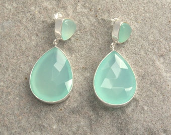 "Big Sterling silver earrings with ""aqua""chalcedony stone"