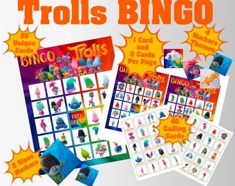 Trolls 5x5 Bingo printable PDFs | 1 Card & 2 Cards Per Page | 30 Unique Cards | 40 Calling Cards | 4 Markers Themes Available in 2 Sizes