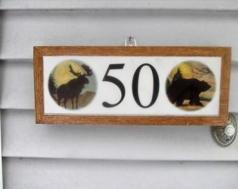 lodge animals house numbers address numbers address tile numbers address tile - Decorative House Numbers