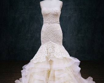 Wedding Dress, Horsehair Trim, Lace, Tulle, Trumpet Mermaid Silhouette