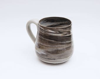 Mug ~ Black Waves Series ~ Marbled Ceramics, Handmade Wheelthrown Porcelain Stoneware Pottery, Gifts for Home, Gift Idea