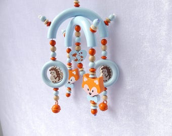 Mobile pram blue orange Fox Hedgehog