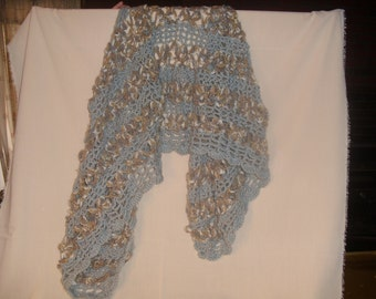 Blue and Gray Crocheted Shawl