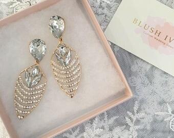Crystal Chevron Earrings, Bold Crystal Earrings, Bridal Earrings, Crystal Encrusted Earrings, Bridesmaids Jewelry, Free Shipping!