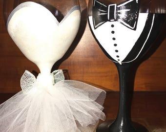 Hand painted bride & groom wine glasses