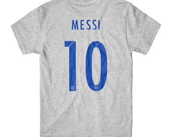 Lionel Messi T-Shirt Jersey Barcelona Soccer Gray Tee