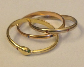 Snakes trinity three golds ring
