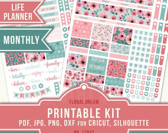 June Planner Stickers, Erin Condren June Printable, June Monthly Sticker Kit, Floral Planner Stickers, June Planner Stickers, 17042